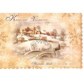 Nekupto Pohľadnice Krásne Vianoce zúbky béžová, chalúpky a kostol