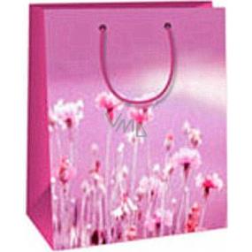 Ditipo Darčeková papierová taška 18 x 10 x 22,7 cm svetlo fialová s kvetmi