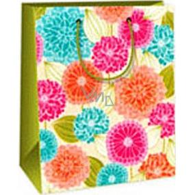 Ditipo Darčeková papierová taška 18 x 10 x 22,7 cm ružové oranžovej modré kvety