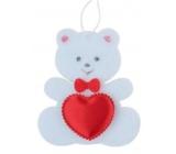 Medvedík z filcu so srdiečkom biely na zavesenie 6,5 cm
