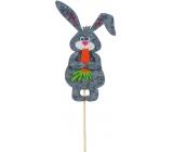 Zajíček s mrkví šedý zápich 11 cm + špejle