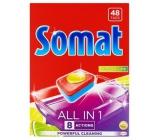 Somat All in 1 Lemon & Lime tablety do umývačky obohatené o silu kyseliny citrónovej a pomáhajú odstrániť ťažko odolnú špinu 48 kusov