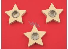 Svícen dřevěný hvězda 6 cm, 3 kusy (otvor 1,5 cm)