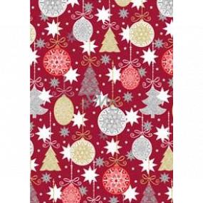 Ditipo Darčekový baliaci papier 70 x 200 cm Vianočný vínový banky a stromčeky