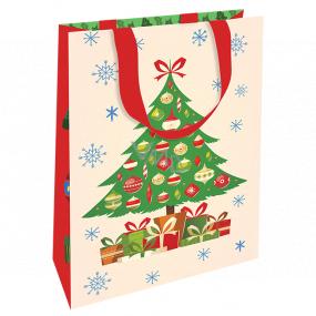 Nekupto Darčeková papierová taška luxusné 11 x 18 cm Vianočný stromček WLFS 1990