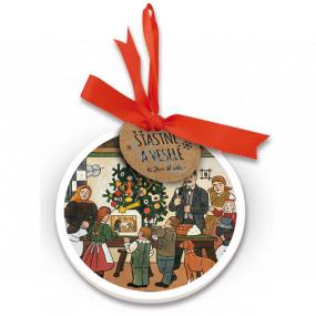 Nekupto Keramická ozdoba guľatá Josef Lada Vianočný stromček 9 cm