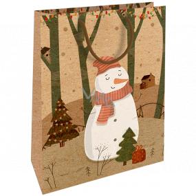Nekupto Darčeková Kraftová taška 28 x 37 Vianočné snehuliak 607 WKHL