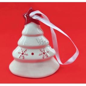 Zvonček keramický s červenou potlačou 9 cm