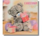 Prianie do obálky V Medveď s tromi darčeky a balóniky