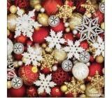 Aha Vánoční papírové ubrousky Vločky, zlaté a červené ozdoby 3 vrstvé 33 x 33 cm 20 kusů
