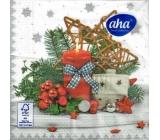 Aha Papierové obrúsky 3 vrstvové 33 x 33 cm 20 kusov Vianočné Červená sviečka, domček