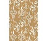 Ditipo Darčekový baliaci papier 70 x 200 cm Zlatý biele ozdoby
