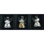 Andělé ze skla sada 3 kusy káro a kamínky, 4,5 cm
