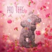 Me to You Blahopřání do obálky 3D Pro tebe, Medvídek s padajícími květy 15,5 x 15,5 cm