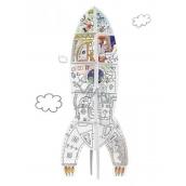 Monumi Raketa skládačka k vymalování pro děti 5+ výška 70 cm