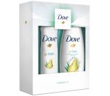 Dove Pear sprchový gél pre ženy 250 ml + dezodorant antiperspirant sprej pre ženy 150 ml, kozmetická sada