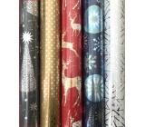 Zöllner Darčekový baliaci papier 70 x 150 cm Vianočný Luxusné Platinum šedý - strieborné hviezdy a stromčeky
