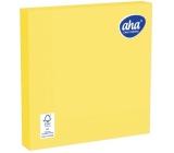 Aha Papierové obrúsky jednofarebné 3 vrstvové 33 x 33 cm 20 kusov žltej