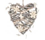 Srdce z vetvičiek s kvietkami a motýliky 24 cm