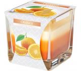BISPOL Orange - Pomaranč trojfarebná vonná sviečka sklo, doba horenia 32 hodín 170 g