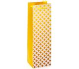 Nekupto Darčeková papierová taška na fľašu 10 x 33 x 8,5 cm Žlté ornamenty 2026 01 KFLH