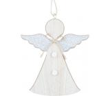 Anjel Drevený so striebornými krídlami na zavesenie 15 cm