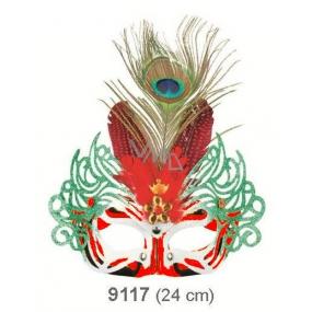Škraboška plesová červená s červeným peřím 30 cm vhodná pro dospělé