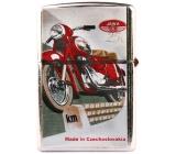 Bohemia Gifts & Cosmetics Retro zapaľovač kovový benzínový s potlačou Motorka červená 5,5 x 3,5 x 1,2 cm