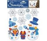 Samolepky snehuliaci s darčekom a vločkami 3D s glitrami 31 x 30 cm