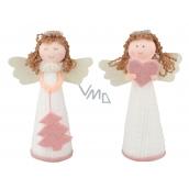 Anjel pletený biely s ružovými doplnkami 13 cm 1 kus