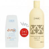 Ziaja Sun SPF 50+ antioxidačný krém s vitamínom C 50 ml + Arganový olej krémové sprchové mydlo 500 ml, duopack