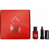 Dsquared2 Red Wood toaletná voda pre ženy 5 ml + rúž 1,2 g, darčeková sada