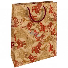 Nekupto Darčeková Kraftová taška 28 x 37 cm Vianočný Zasnežené domčeky 601 WKHL