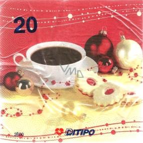 Ditipo Papierové obrúsky 3 vrstvové 33 x 33 cm 20 kusov Vianočný Káva a banky
