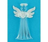 Anděl skleněný na zavěšení úzký 7,5 cm