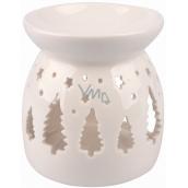 Aromalampa porcelánová bílá se stromečky 9,9 cm
