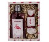 Bohemia Gifts & Cosmetics Flamingo Vinná réva sprchový gel 200 ml + ručně vyrobené mýdlo 30 g kosmetická sada