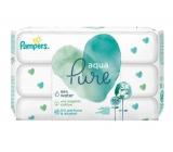Pampers Aqua Pure vlhčené obrúsky z BIO bavlny, bez alkoholu a parfumácie pre deti 3 x 48 kusov