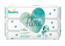 Pampers Pure Aqua vlhčené obrúsky z bio bavlny, bez alkoholu a parfumácie pre deti 3 x 48 kusov