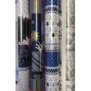 Zöllner Vianočný baliaci papier modrý s banky a darčekmi 2 mx 70 cm