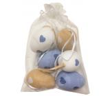 Vajíčka sa srdiečkami plastová na zavesenie 6 cm, 6 kusov v organze