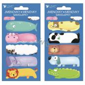 Menovky na darčeky samolepiace Zvieratká 8 x 16 cm