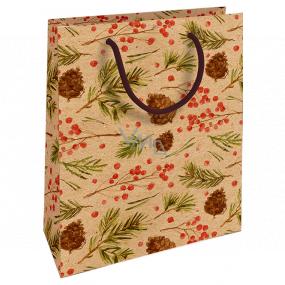 Nekupto Darčeková Kraftová taška 25 x 8 x 19 cm Vianočné šišky, ihličie 592 WKHM