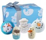 Bomb Cosmetics Snehuliak - Mr Frosty šumivý balistik do kúpeľa 3 x 160 g + špalíček do kúpeľa 2 x 50 g, kozmetická sada