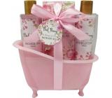 Salsa Collection Ružová pivonka sprchový gél 150 ml + telové mlieko 150 ml + soľ do kúpeľa 100 g, kozmetická sada v ružovej vaničke