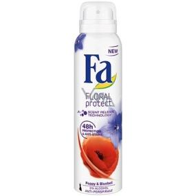 Fa Floral Protect Poppy & Bluebell antiperspitant deodorant sprej pro ženy 150 ml