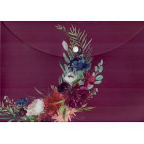 Albi Puzdro na dokumenty Bordo s kvetinami A4 - 210 x 297 mm