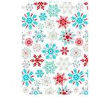 Ditipo Darčekový baliaci papier 70 x 150 cm Vianočný biely farebné vločky