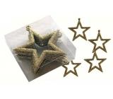 Hvězdy zlaté 7,5 cm 6 kusů v krabičce