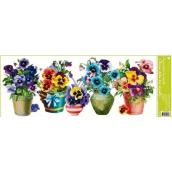Room Decor Okenní fólie bez lepidla pruh truhlíkové květiny macešky 60 x 22,5 cm